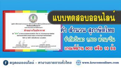 แบบทดสอบออนไลน์ เรื่อง คำ สำนวน และสุภาษิตไทย
